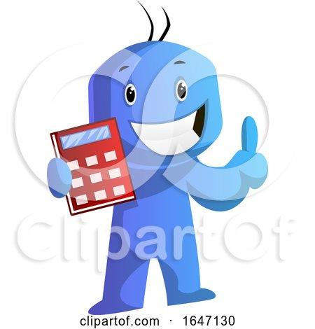 Blue Cartoon Man Holding a Calculator by Morphart Creations