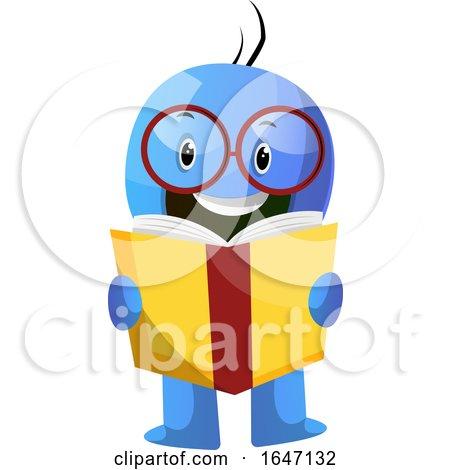 Blue Cartoon Man Reading a Book by Morphart Creations