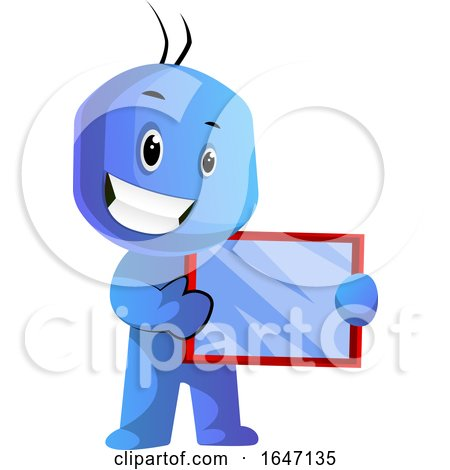 Happy Blue Cartoon Man Holding a Tablet by Morphart Creations