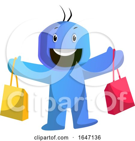 Happy Blue Cartoon Man with Shopping Bags by Morphart Creations