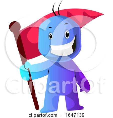 Blue Cartoon Man with a Flag by Morphart Creations