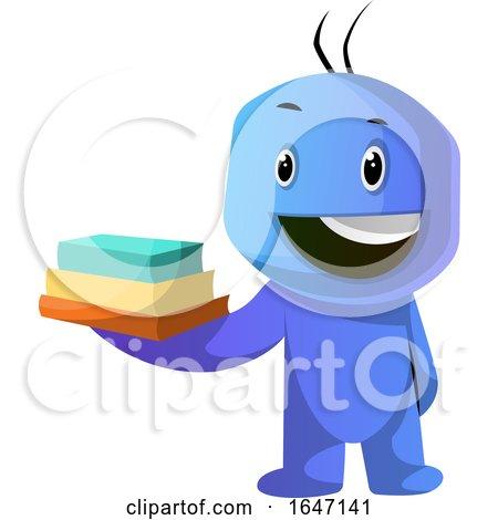 Blue Cartoon Man Holding Books by Morphart Creations