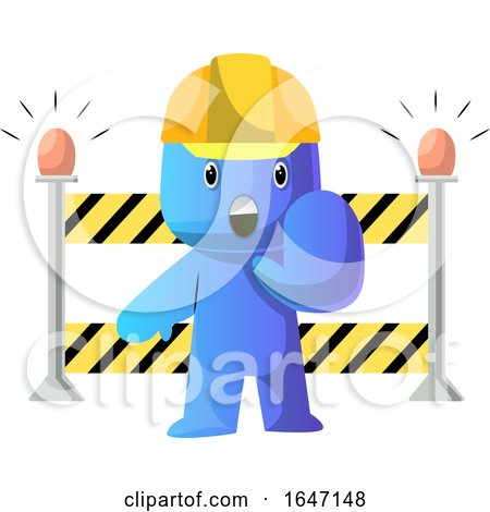 Cartoon Blue Man Construction Worker Gesturing Stop by a Barrier by Morphart Creations