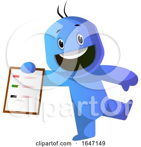 Cartoon Blue Man Holding a Clipboard with a List by Morphart Creations