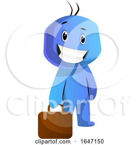 Cartoon Blue Man Carrying a Briefcase by Morphart Creations