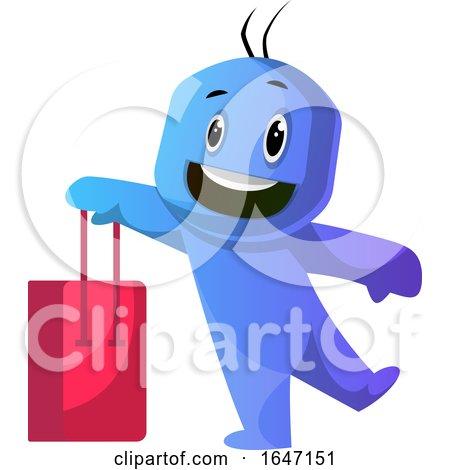 Cartoon Blue Man Carrying a Shopping Bag by Morphart Creations
