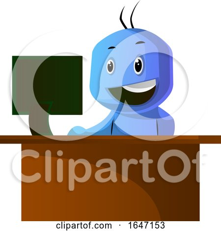 Cartoon Blue Man Using a Computer at His Work Desk by Morphart Creations