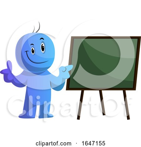 Happy Cartoon Blue Man Teaching by a Board by Morphart Creations