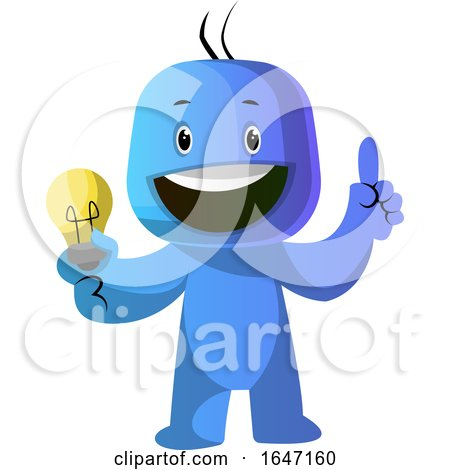 Cartoon Blue Man with an Idea by Morphart Creations