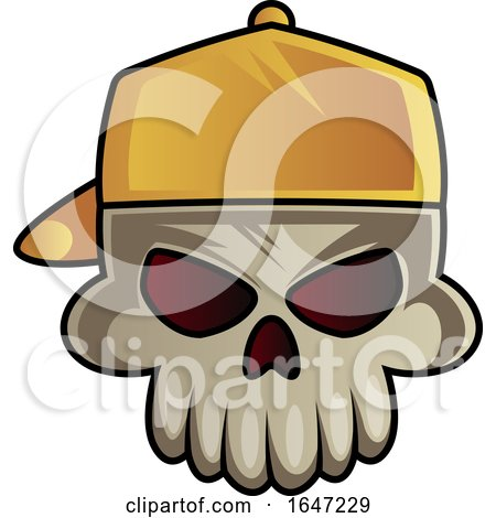 Skull Wearing a Backwards Baseball Hat Posters, Art Prints