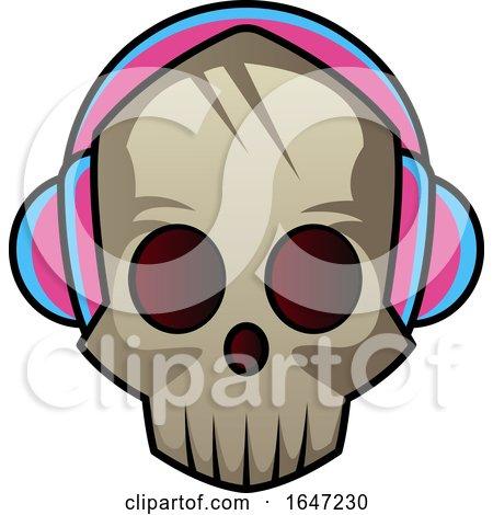 Skull Wearing Headphones Posters, Art Prints