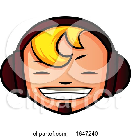 Happy Blond Boy Wearing Headphones by Morphart Creations