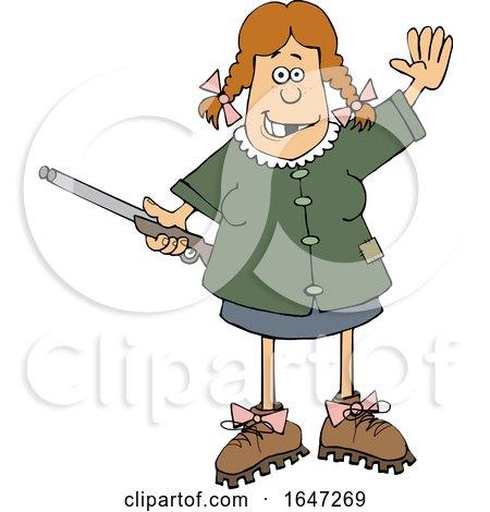Cartoon Hillbilly Woman Holding a Gun and Waving Posters, Art Prints