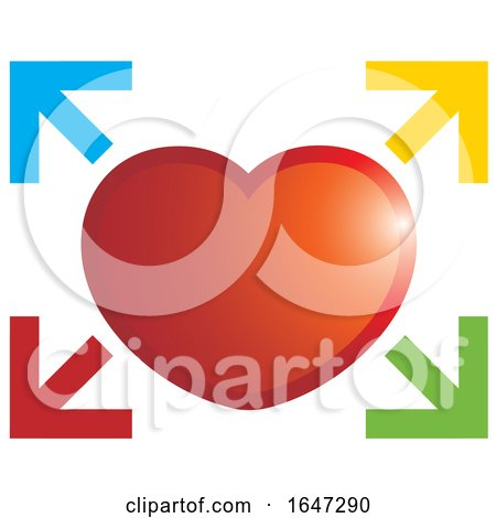 Red Heart and Colorful Arrows Posters, Art Prints