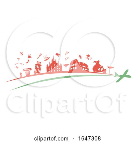 Italian Flag Abstract with Silhoutted Icons and a Plane by Domenico Condello