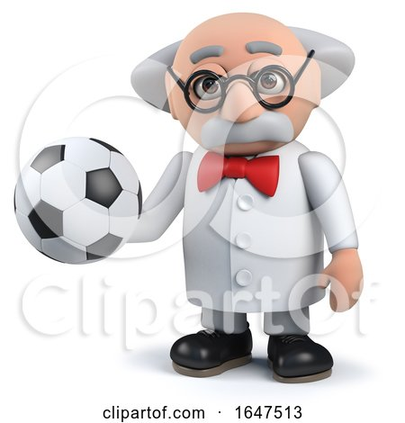 3d Mad Scientist Character Holding a Soccer Ball by Steve Young