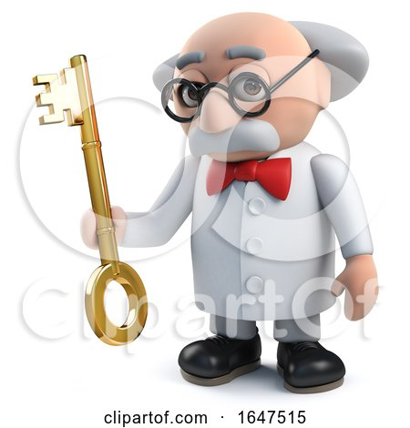 3d Mad Scientist Character Holding a Gold Key by Steve Young