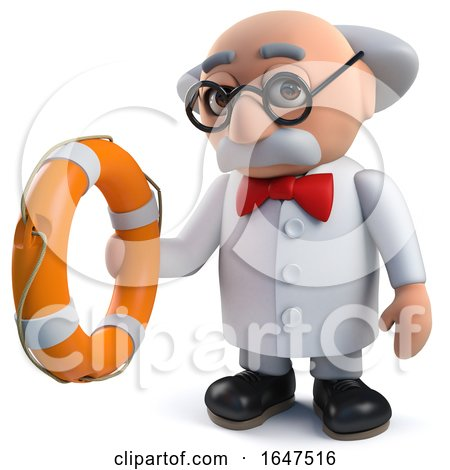 3d Mad Scientist Character Holding a Life Ring by Steve Young