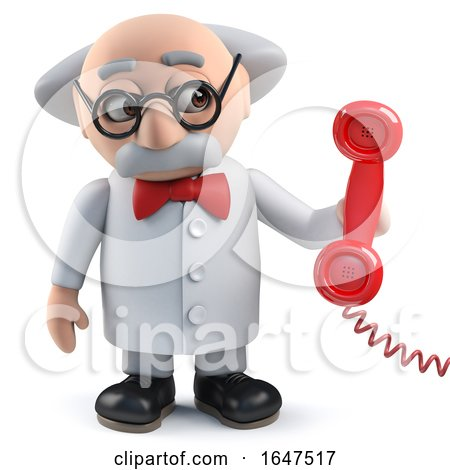 3d Mad Scientist Character Answering the Phone by Steve Young