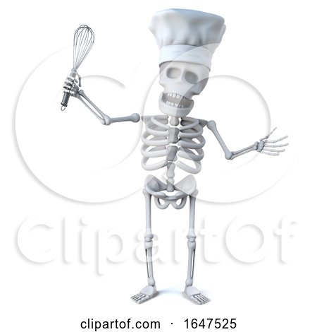 3d Skeleton Chef with Whisk by Steve Young