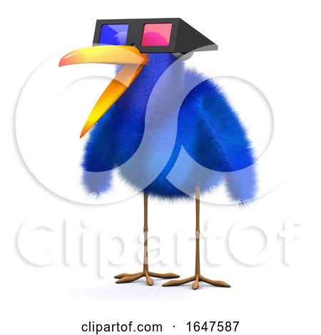 3d Bluebird Watches a 3d Movie by Steve Young