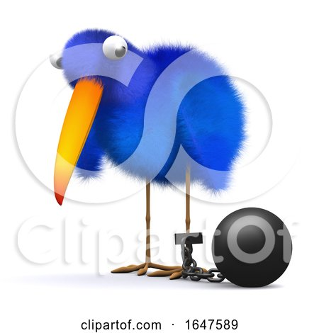 3d Bluebird Has a Ball and Chain by Steve Young