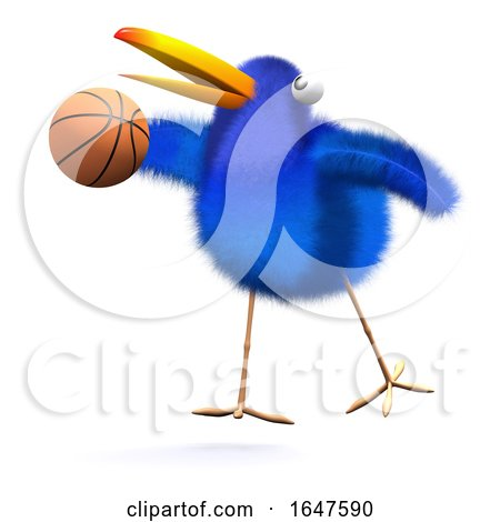 3d Bluebird Plays Basketball by Steve Young