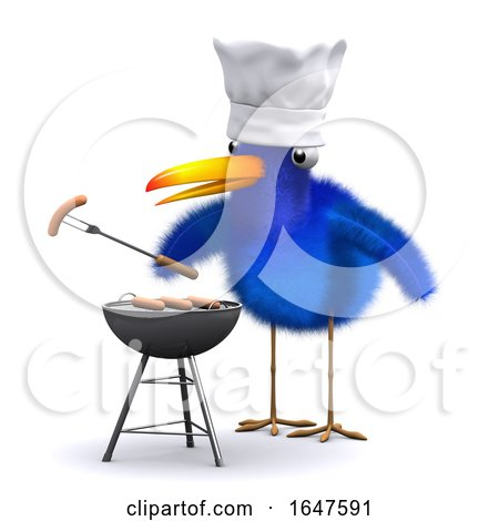 3d Bluebird Has a Barbecue by Steve Young