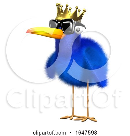 3d Bluebird Wears a Gold Crown by Steve Young