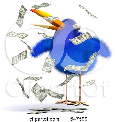 3d Cartoon Blue Bird in a Cash Windfall by Steve Young