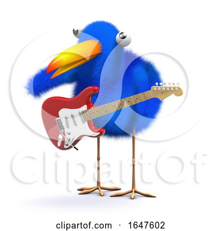 3d Cartoon Blue Bird Playing Electric Guitar by Steve Young