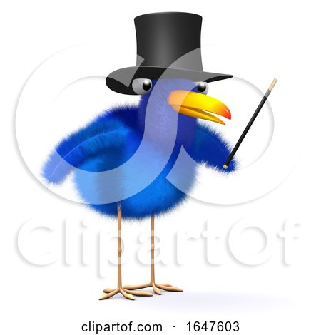 3d Cartoon Blue Bird Magician Mentalist Wearing a Top Hat and Holding a Wand by Steve Young