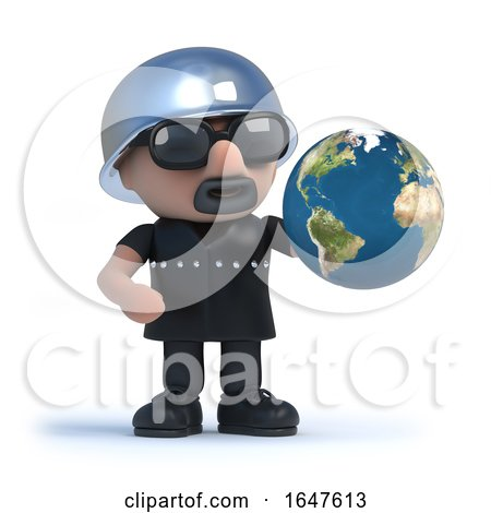 3d Biker with Globe of the Earth by Steve Young