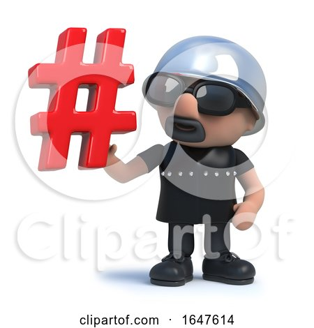 3d Funny Cartoon Biker Character Has a Hash Tag Symbol by Steve Young