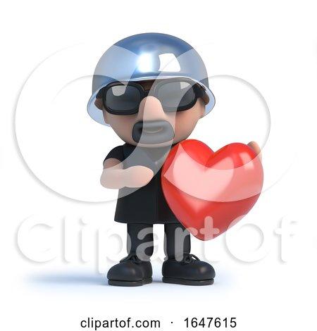 3d Biker Holding a Red Heart Posters, Art Prints
