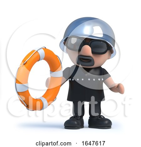 3d Biker Holding a Life Ring by Steve Young