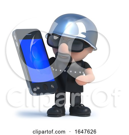 3d Biker Using His New Smartphone Tablet Device by Steve Young