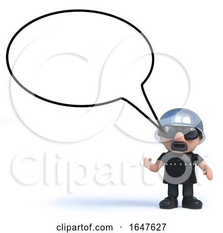 3d Biker with Blank Speech Bubble by Steve Young
