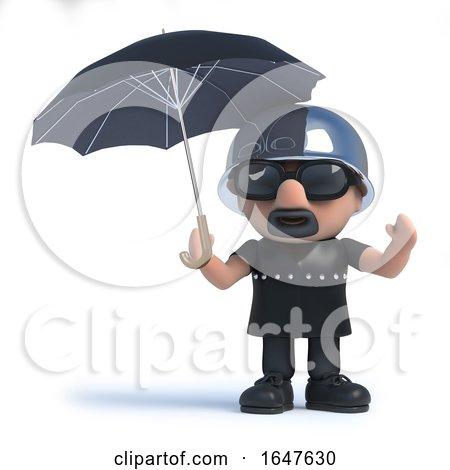 3d Biker Shelters Under an Umbrella by Steve Young