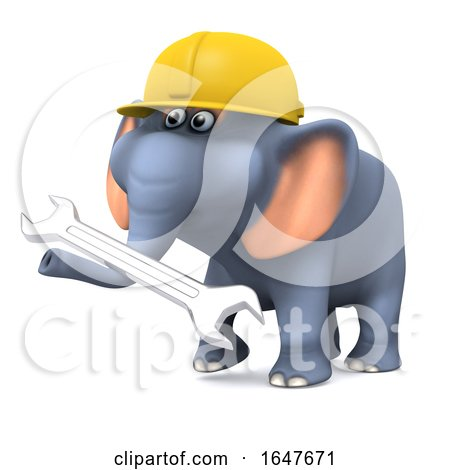 3d Builder Elephant with a Spanner by Steve Young