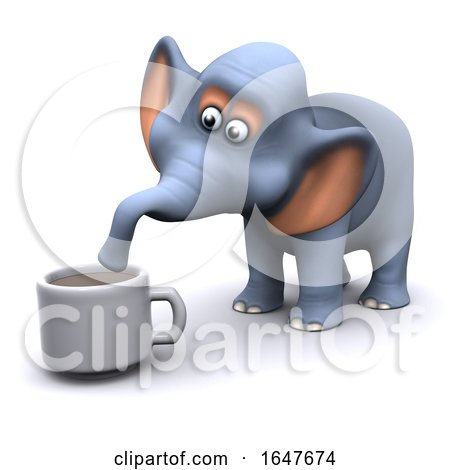 3d Elephant Drinks a Cup of Coffee by Steve Young