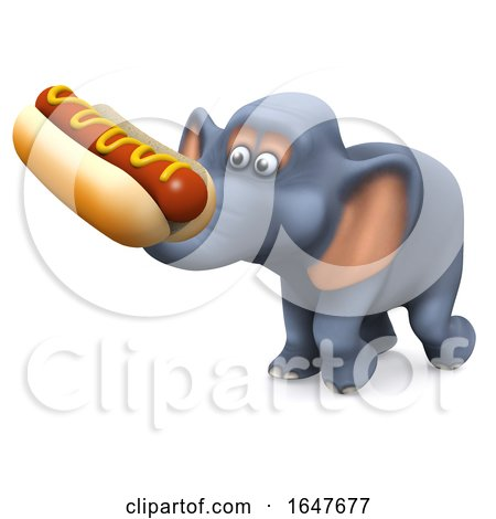 3d Elephant Character Carrying a Hotdog by Steve Young
