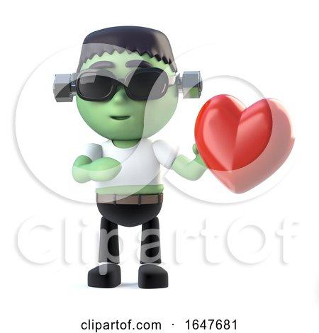 3d Child Frankenstein Monster Is in Love Posters, Art Prints
