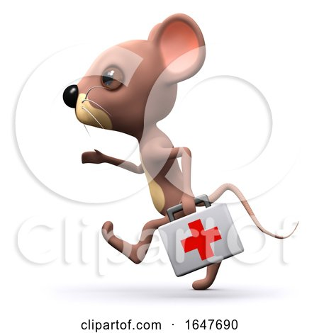 3d Little Mouse Character Running with First Aid Kit by Steve Young