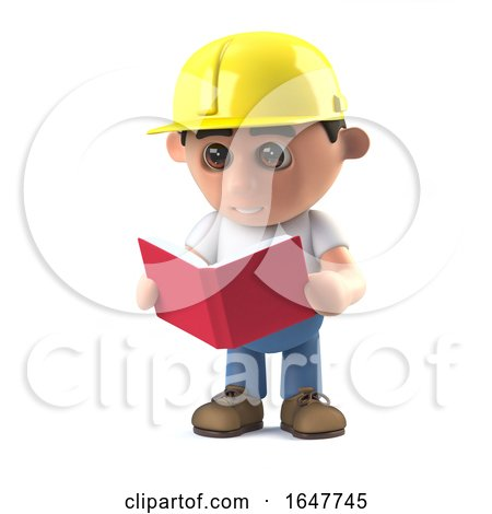 3d Construction Worker Reading a Book by Steve Young