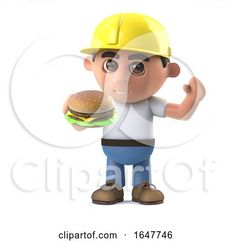 3d Construction Worker Eating a Beef Burger by Steve Young