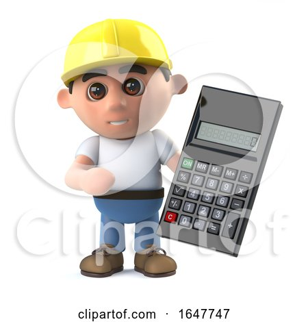3d Construction Worker Uses a Calculator by Steve Young