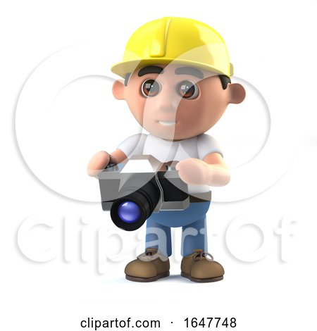 3d Construction Worker Takes a Photo with His Camera by Steve Young