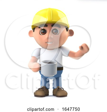 3d Construction Worker Takes a Coffee Break by Steve Young