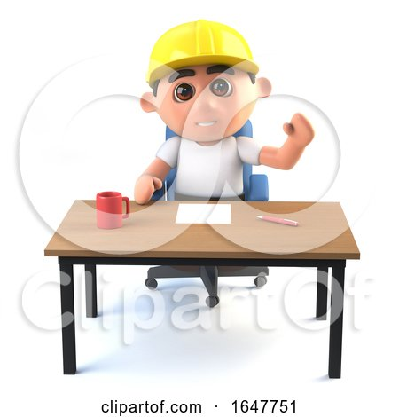 3d Construction Worker Waves from His Desk by Steve Young